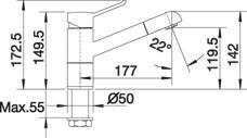 Blanco Keukenkraan ZENOS-S chroom met uittrekbare sproeikop 517815
