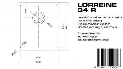 Lorreine Luxe spoelbak 34 LOR34R