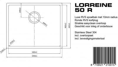 Lorreine Luxe spoelbak 50 LOR50R