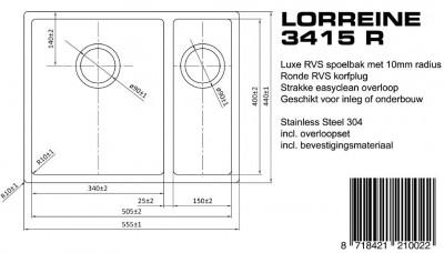 Lorreine Luxe dubbele spoelbak 3415 LOR3415R