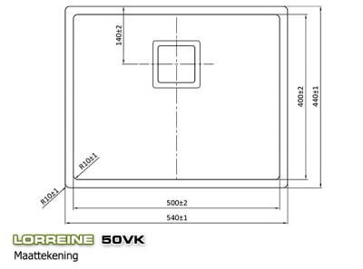 Lorreine Exclusive rvs spoelbak 50cm LOR50VK maat