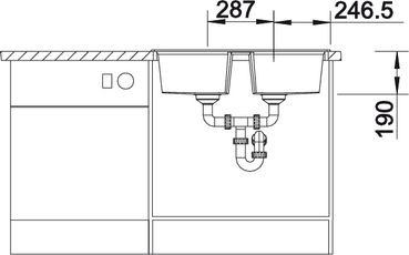 Blanco spoelbak Lexa 8 Manueel opbouw rock grey 518863
