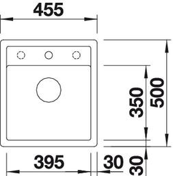 Blanco spoelbak Dalago 45-F vlakinbouw cafe 517171