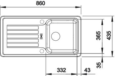 Blanco spoelbak Favos Manueel opbouw alumetallic 516618