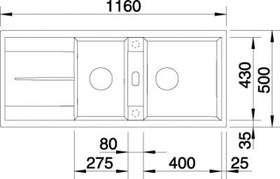 Blanco spoelbak Metra 8 S manueel opbouw cafe 515048