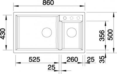 Blanco spoelbak Metra 9 manueel opbouw tartufo 517364