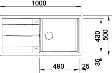 Blanco spoelbak Metra XL 6 S Manueel opbouw antraciet 515142