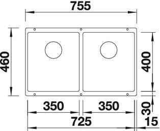 Blanco spoelbak Subline 350/350-U manueel onderbouw alumetallic 518592