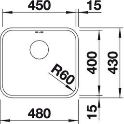 Blanco spoelbak Supra 450-U automatisch onderbouw RVS 518204