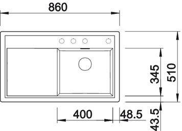 Blanco spoelbak Zenar 45 S BL opbouw zonder toeb. alumetallic 518469
