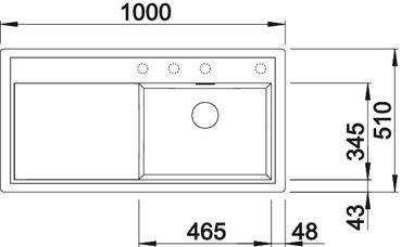 Blanco spoelbak Zenar XL 6 S BR opbouw antraciet 516026