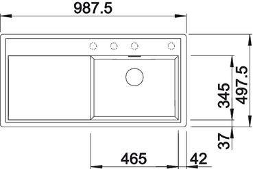 Blanco spoelbak Zenar XL 6 S-F BR vlakinbouw cafe 516066