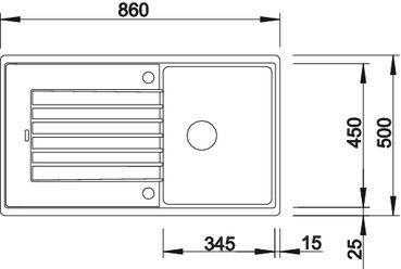 Blanco spoelbak Zia 45 SL automatisch opbouw wit 516730