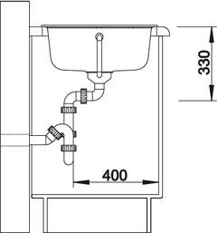 Blanco spoelbak Zia 45 SL manueel opbouw alumetallic 516739
