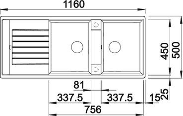 Blanco spoelbak Zia 8 S manueel opbouw alumetallic 515596