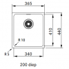 Franke Sirius 2 S2D 110.34 kunstof zwarte spoelbak 34x41cm onderbouw 1156276262