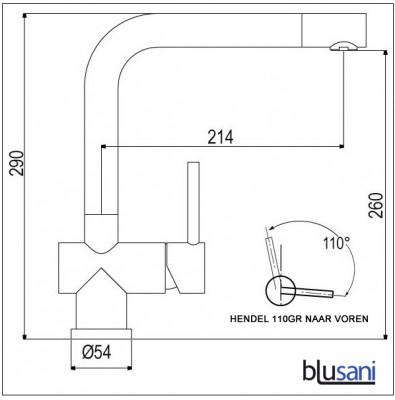 Blusani Keukenkraan Fuse vaste uitloop volledig RVS NK0911