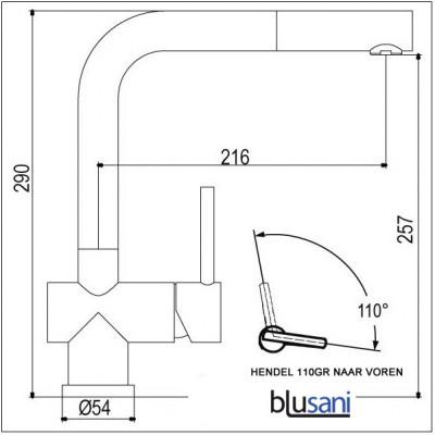 Blusani Keukenkraan Fuse Uittrekbare uitloop volledig RVS NK0912