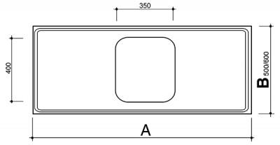 Reginox RVS werkblad wafel spoelbak midden 1615-550