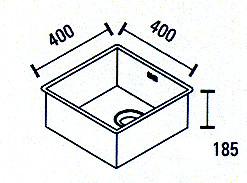 Blusani Cubic rvs spoelbak 40 vlakinbouw BC0040F