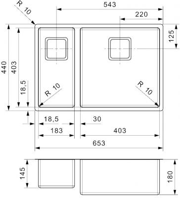 Reginox Texas R10 buitenradius 18x40 + 40x40 dubbele RVS spoelbak B09T7LLU08RGDS.10