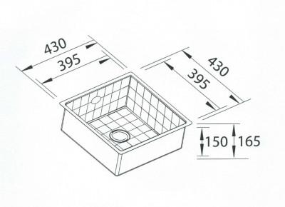 Blusani Terrazzo tegel spoelbak 40 onderbouw BT0040U tekening