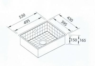 Blusani Terrazzo tegel spoelbak 50 onderbouw BT005010U tekening