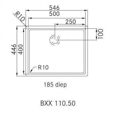 Franke Bolero Plus BXX 110.50 spoelbak onderbouw 1220352617 technische tekening