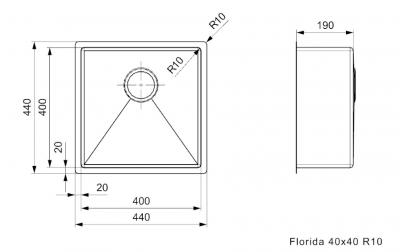 Reginox Florida RVS spoelbak opbouw onderbouw en vlakinbouw 40x40 L6412 R26274