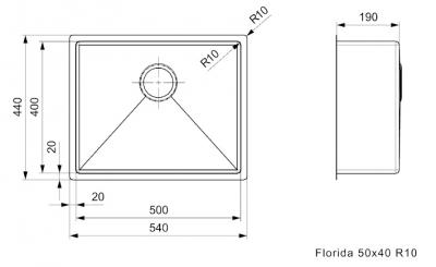 Reginox Florida rvs spoelbak opbouw onderbouw en vlakinbouw 50x40cm L6414 R26281