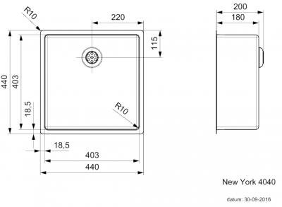 Reginox New York RVS spoelbak 40x40  universeel nieuw model T09T2LLU06GDS