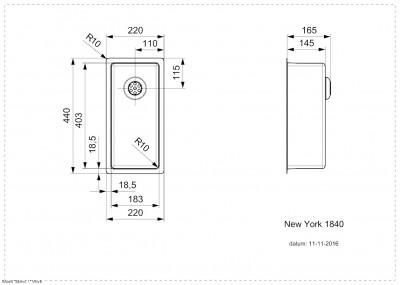 Reginox New York RVS kleine spoelbak 18x40 T09T1LLU06GDS