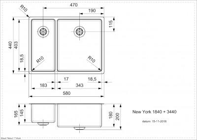 Reginox New York 1,5 RVS spoelbak 18x40 + 34x40 T09T5LLU08GDS