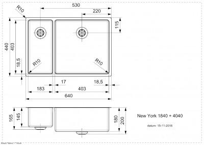 Reginox New York 1,5 RVS spoelbak 18x40 + 40x40 T09T6LLU08GDS