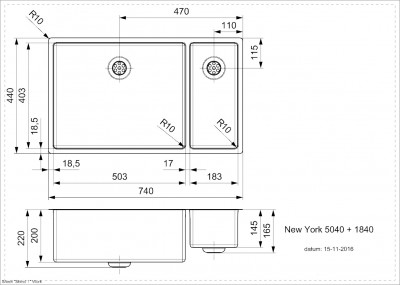 Reginox New York 1,5 RVS spoelbak 50x40 + 18x40 T09T10LLU08GDS
