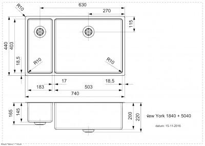 Reginox New York 1,5 RVS spoelbak 18x40 + 50x40 T09T7LLU08GDS