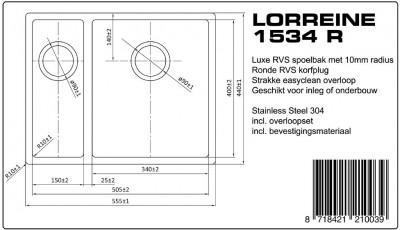 Lorreine Luxe dubbele spoelbak 1534 LOR1534R