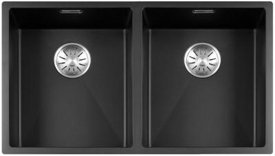 Lorreine Color-R zwarte rvs dubbele spoelbak 3434cm 3434R-CLR-BLACK zwart 1208917021