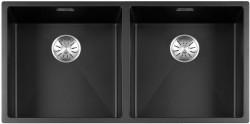 Lorreine Color-R zwarte rvs dubbele spoelbak 4040cm 4040R-CLR-BLACK zwart 1208917022
