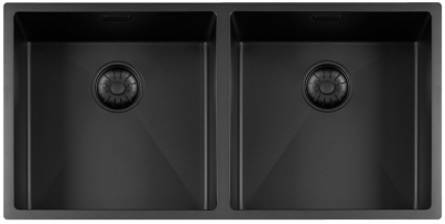 Lorreine Color-R zwarte rvs dubbele spoelbak 4040cm 4040R-CLR-BLACK-BLS zwart 1208920468
