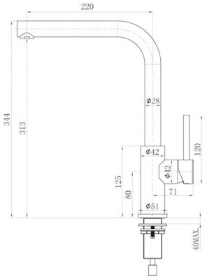 Lorreine Dart-Color-Black keukenkraan volledig roestvrijstaal met draaibare uitloop mat zwart 1208920482