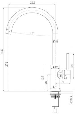 Lorreine Mersey-Color-Black keukenkraan volledig roestvrijstaal met draaibare uitloop mat zwart 1208920480