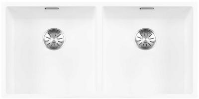 Lorreine Color-R witte rvs dubbele spoelbak 4040cm 4040R-CLR-WHITE wit 1208920534