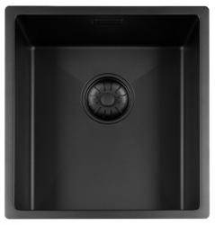 Lorreine Color-R zwarte rvs spoelbak 34cm 34R-CLR-BLACK-BLS zwart 1208920535