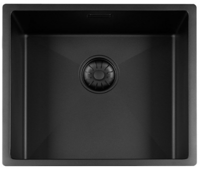 Lorreine Color-R zwarte rvs spoelbak 45cm 45R-CLR-BLACK-BLS zwart 1208920537