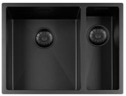 Lorreine Color-R zwarte rvs 1,5 spoelbak 3415cm 3415R-CLR-BLACK-BLS zwart 1208920541