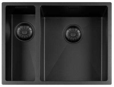 Lorreine Color-R zwarte rvs 1,5 spoelbak 1534cm 1534R-CLR-BLACK-BLS zwart 1208920542