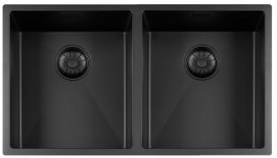 Lorreine Color-R zwarte rvs dubbele spoelbak 3434cm 3434R-CLR-BLACK-BLS zwart 1208920543