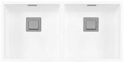 Lorreine Color-VK witte rvs dubbele spoelbak 4040cm 4040VK-CLR-WHITE wit 1208920566