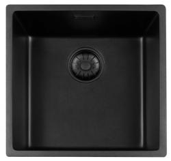 Lorreine Black Quartz spoelbak 40cm onderbouw zwart 40BQ-BLS met zwarte korfplug 1208920567